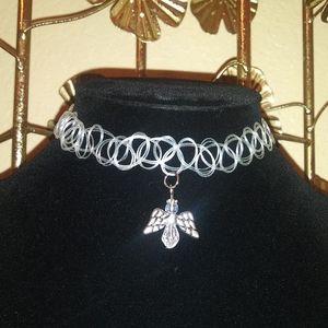Jewelry - Glow N the dark Angel Charm tattoo choker necklace